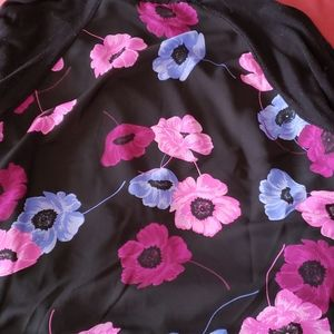 Open front cardigan with flower detail